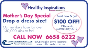 Coffs Coast Health Club Mother's Day Promo