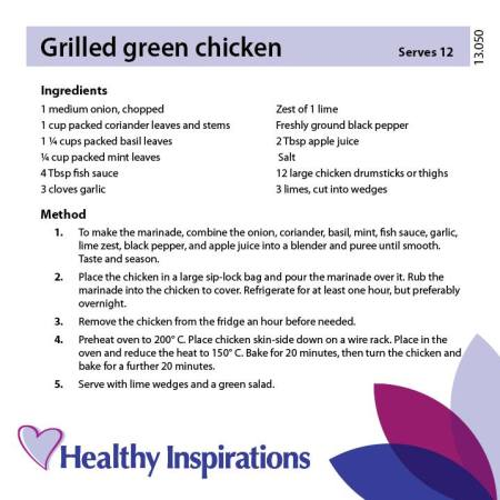 Healthy Inspirations Recipe of the Week - Chilled Green Chicken