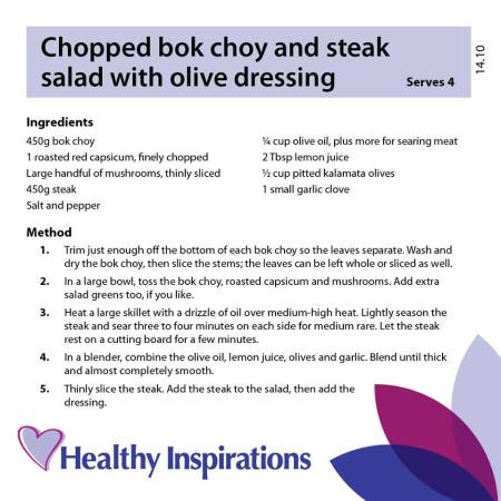 Healthy Inspirations Recipe of the Week - Chopped Bok Choy & Steak Salad with Olive Dressing