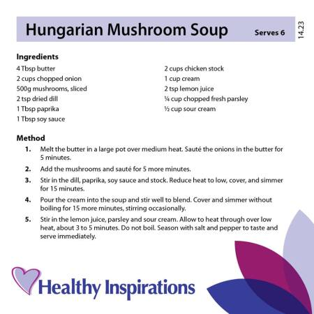 Healthy Inspirations Recipe of the Week - Hungarian Mushroom Soup