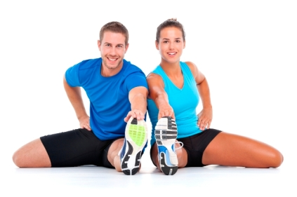 young sporty couple stretching together